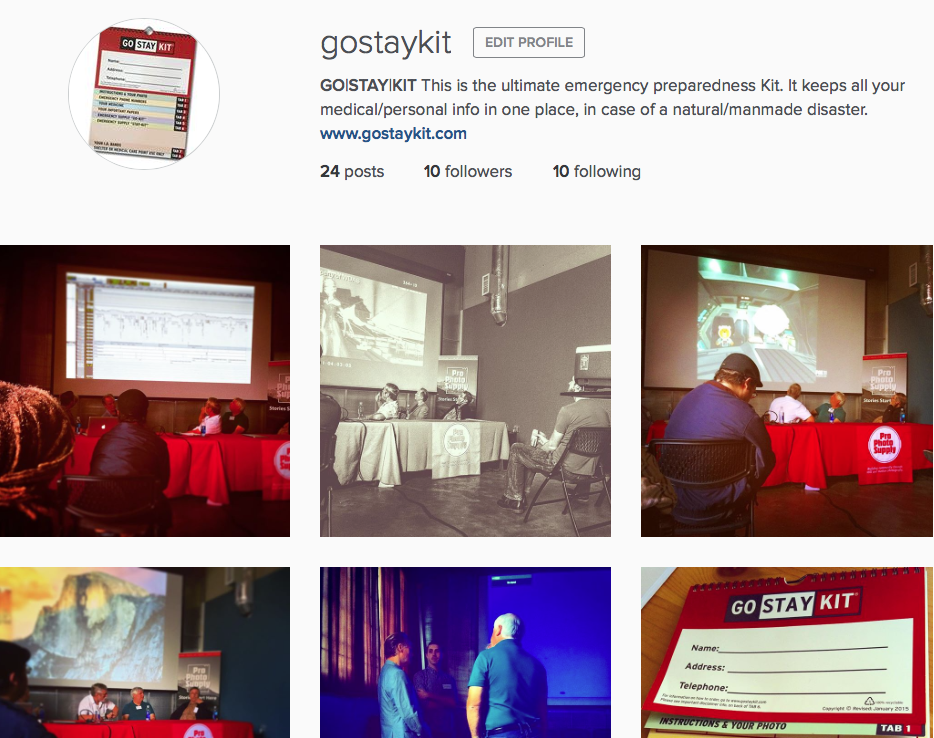 Don't forget we're on Instagram @gostaykit check us out and follow us. You'll see some great pics of where we go...what we say...and what we experience as we get the word out about preparedness. We'll follow you back too.