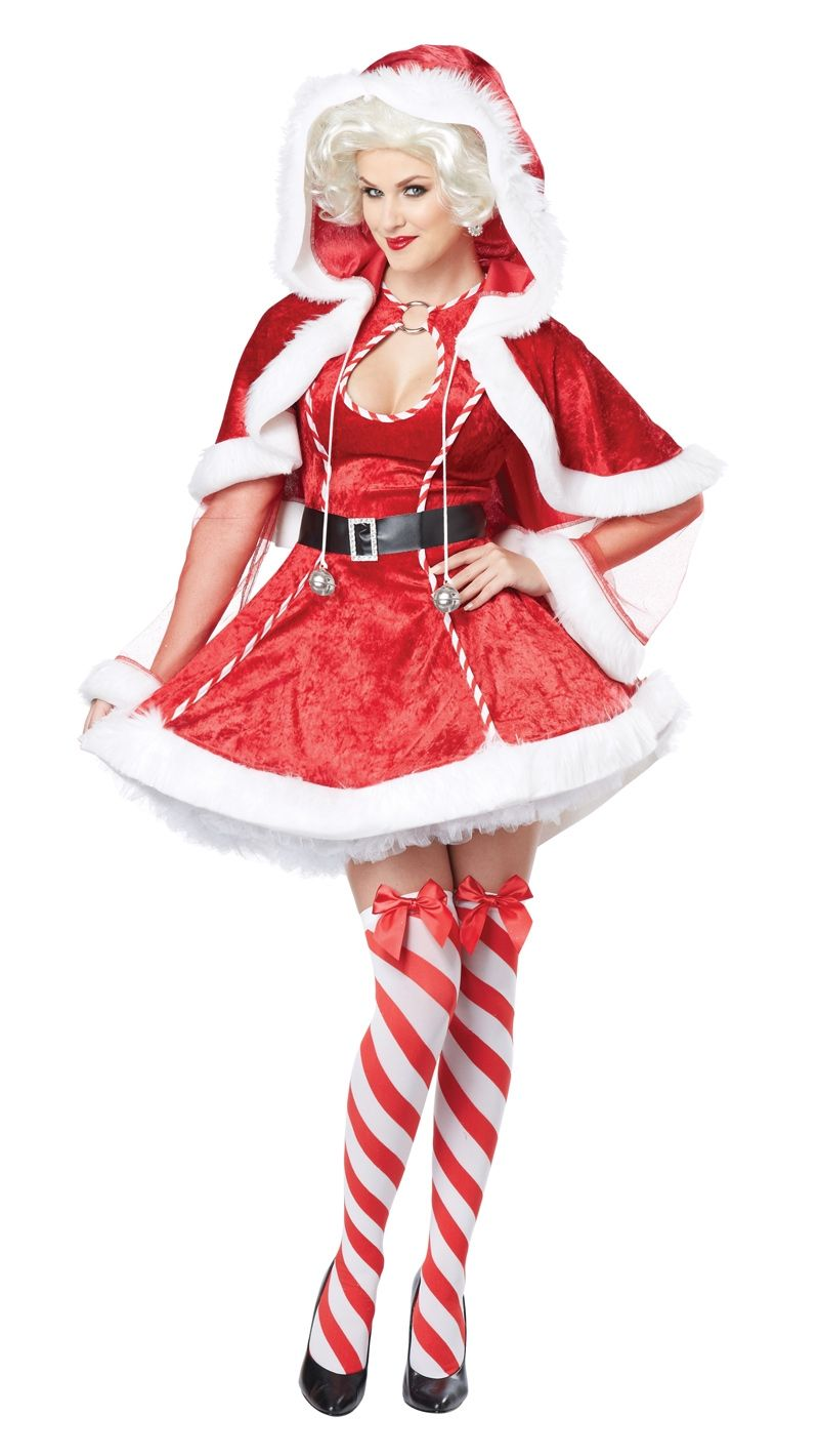 Red White Striped Belt Buckle Thigh Highs Christmas Elf Santa Helper Mrs Claus