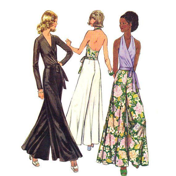 womens halter wrap blouse palazzo pants pattern simplicity
