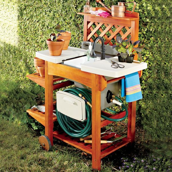 Outdoor Garden Sink the sink cost $130 and the wooden work ... on Patio Sink Station id=70104