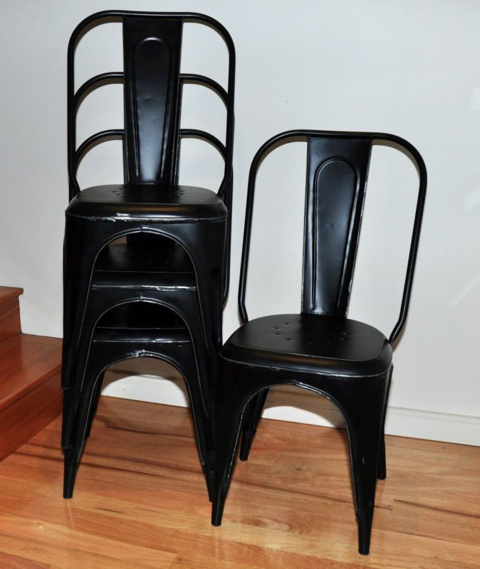 4 x black xavier pauchard tolix vintage industrial dining chairs
