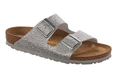 06e860e0e040 Sparkly Birkenstocks! Arizona Soft sandals in Pebbles Metallic Silver