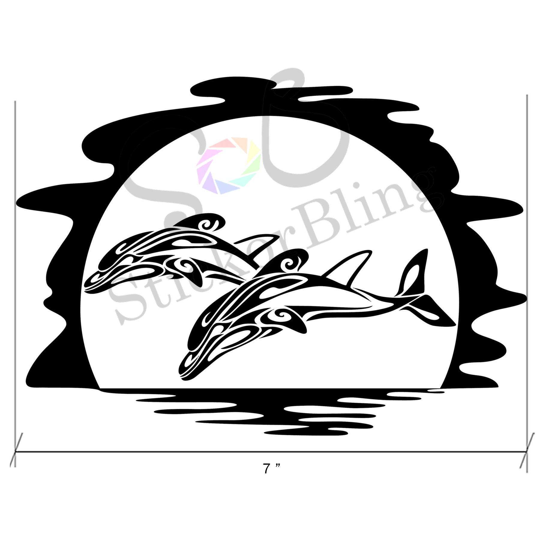 Tribal Jumping Dolphins Moon Die Cut Vinyl Decal Sticker Car - Die cut vinyl decal stickers