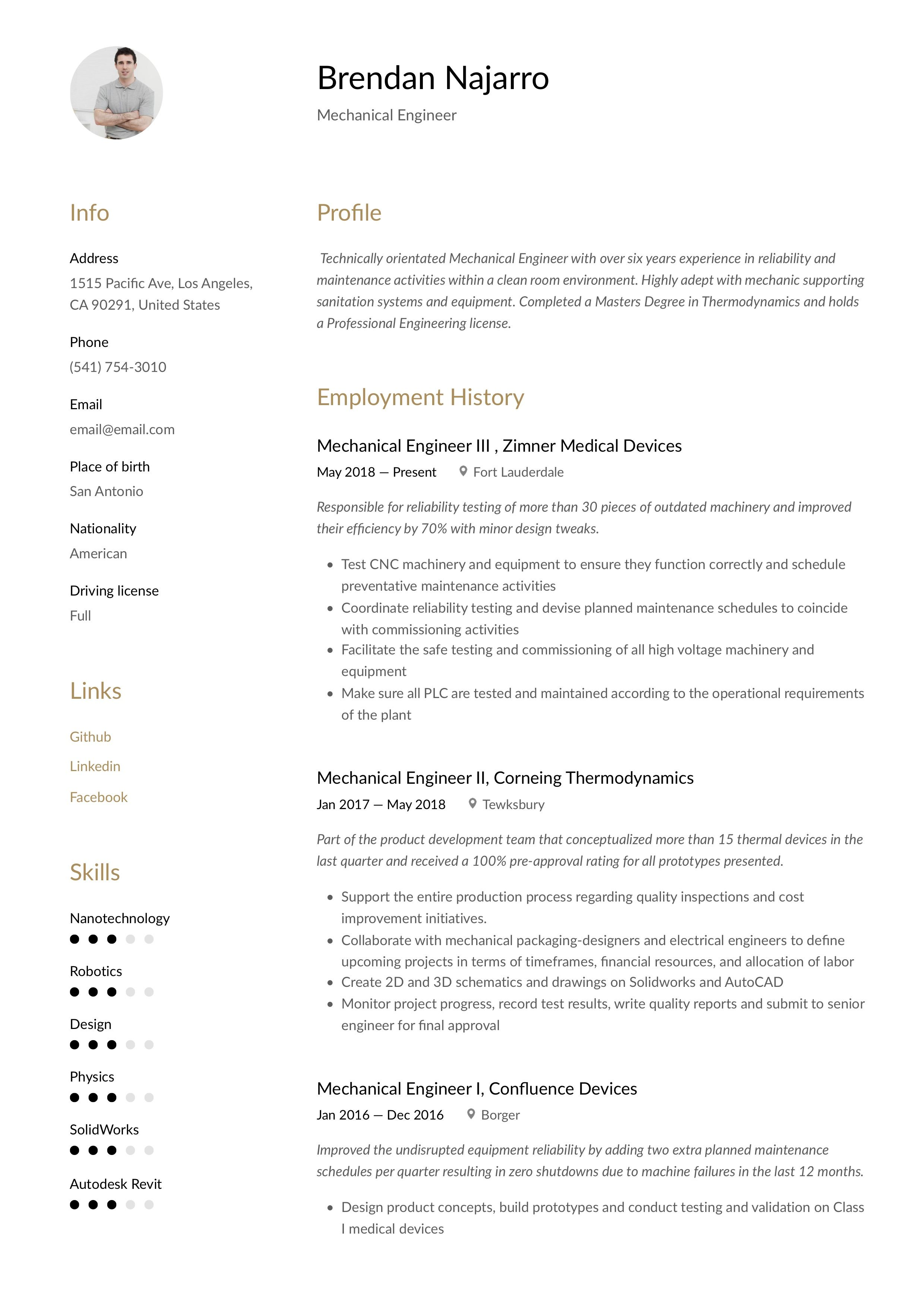 Modern Mechanical Engineer Resume, template, design, tips