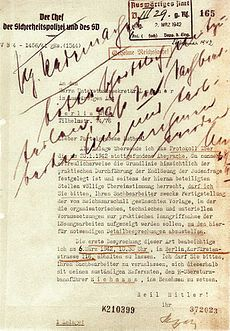 FollowUp Letter From SsObergruppenfhrer Reinhard Heydrich To