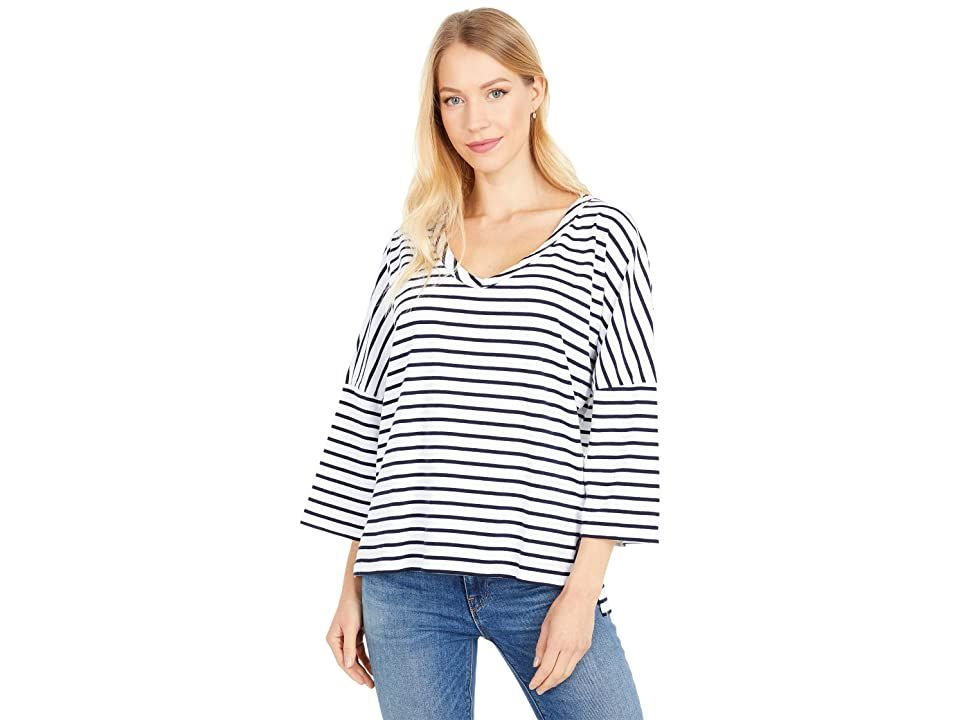 Mod-o-doc Stripe Jersey 3/4 Sleeve Boxy V-Neck Tee - Women's Clothing : White : Stand out in the Mod-o-doc tee that flaunts a boxy silhouette and a soft stripe-printed jersey fabric. Lightweight pullover boasts a V-neckline and three-quarter sleeves with dropped shoulders. Straight hemline sits at hips. 70% cotton, 30% polyester. Machine wash and tumble dry. Imported. Measurements: Length: 25 in Product measurements were taken using size SM (US 4-6). Please note that measurements may vary by siz