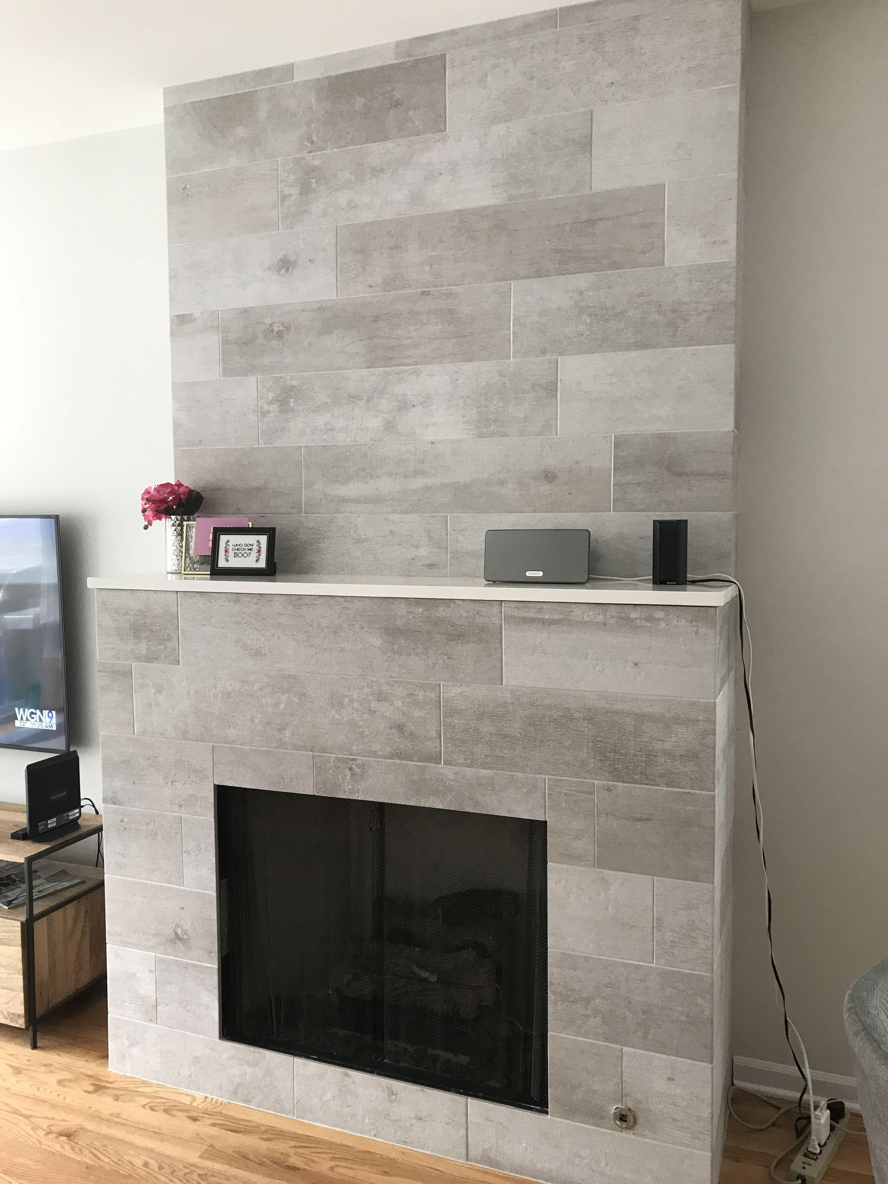 Modern Rustic Fireplace Cool Amp Sleek Wood Grain Gray Grey Porcelain Tile From Tile Outlet