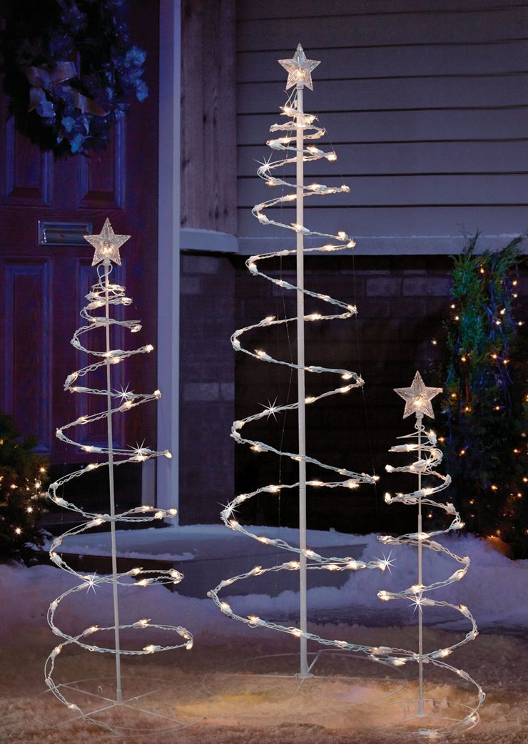 Shimmering Spiral Trees with Clear Lights- Set of 3