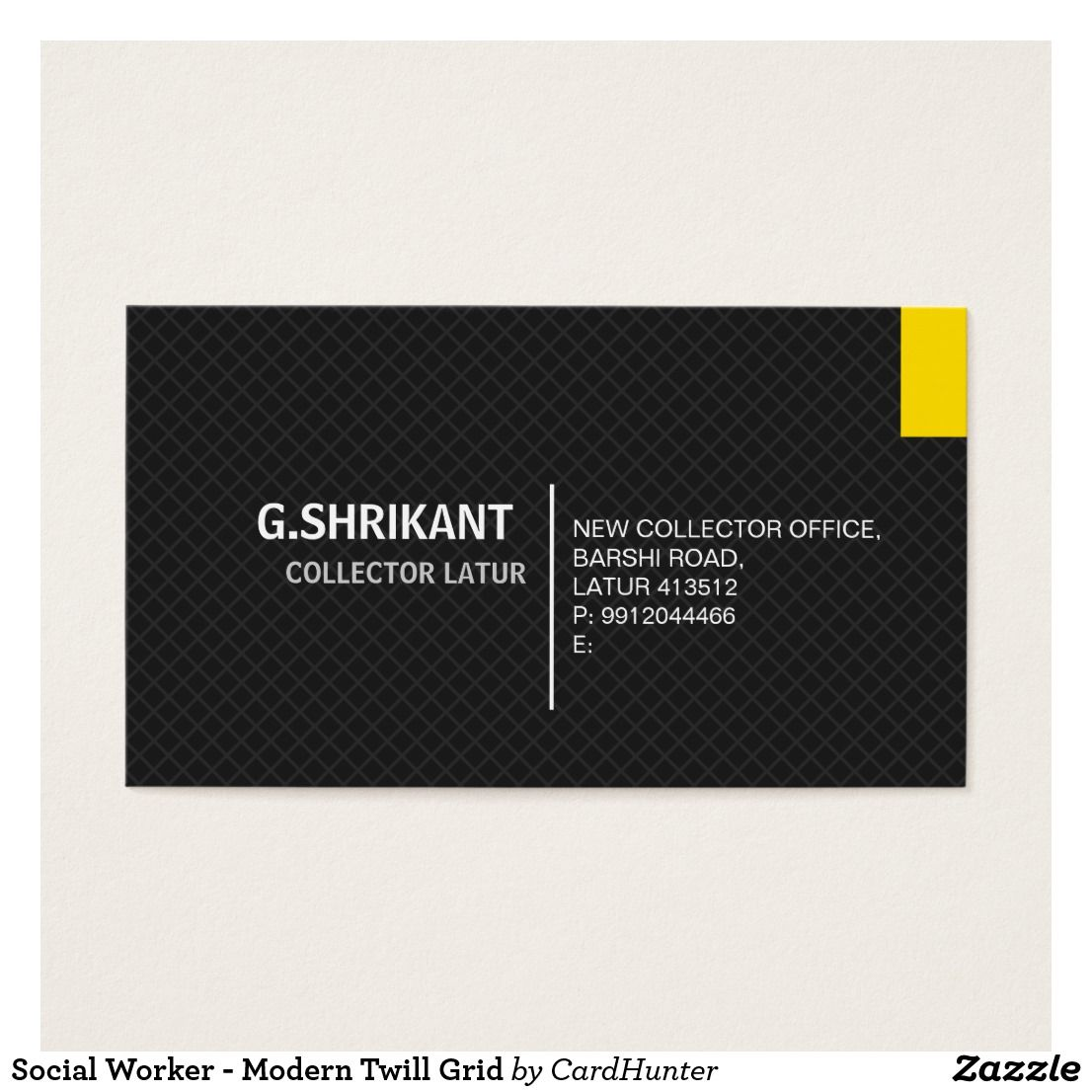 Social Worker - Modern Twill Grid Business Card | collector | Pinterest