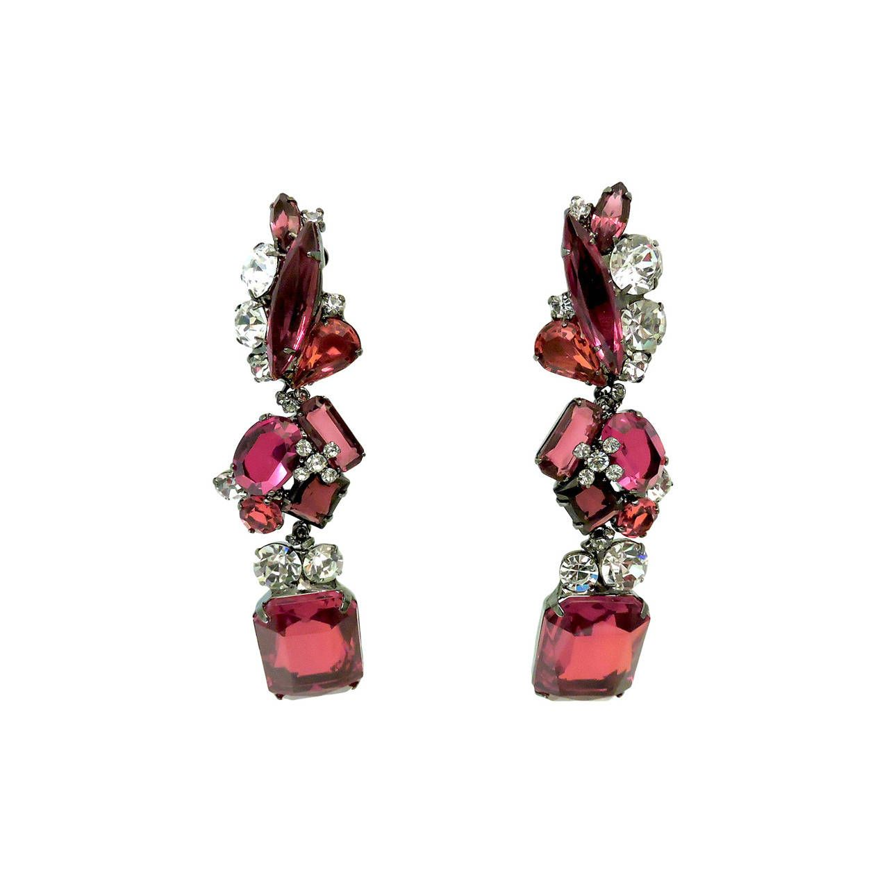 One Of A Kind Robert Sorrell Long Red Clear Crystal Drop Earrings