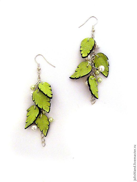 "Handmade earrings.  Fair Masters - handmade earrings skin ""Breath of Spring.""  Handmade."
