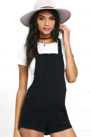 c346a39567 Hold up, wait a minute ... then get yourself up in the RVCA Hold It Washed  Black Short Denim Overalls! Seamed detail travels throughout these stretchy  denim ...