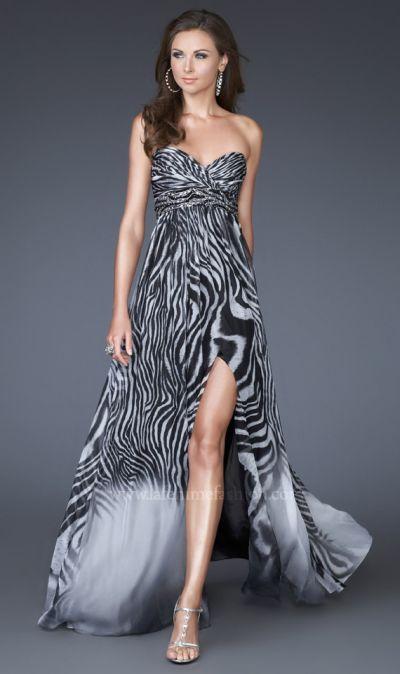 Zebra Print Chiffon Prom Dress La Femme Black and White 15989 ...