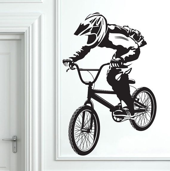 Pack of 4 Wall Vinyl Stickers Stunt Bike Boys Room Murals Decals BMX Riders
