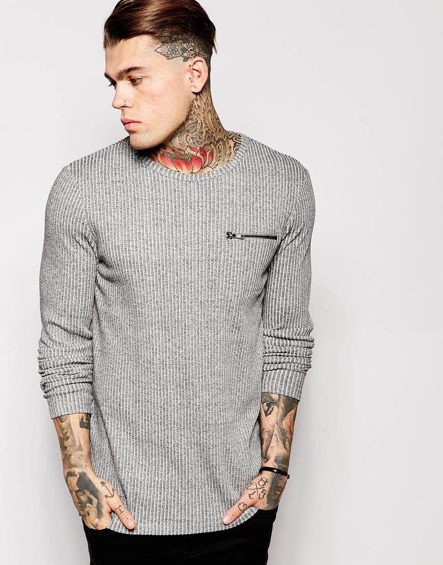 ASOS Longline Long Sleeve T-Shirt In Rib Fabric With Zip Pocket at asos.com