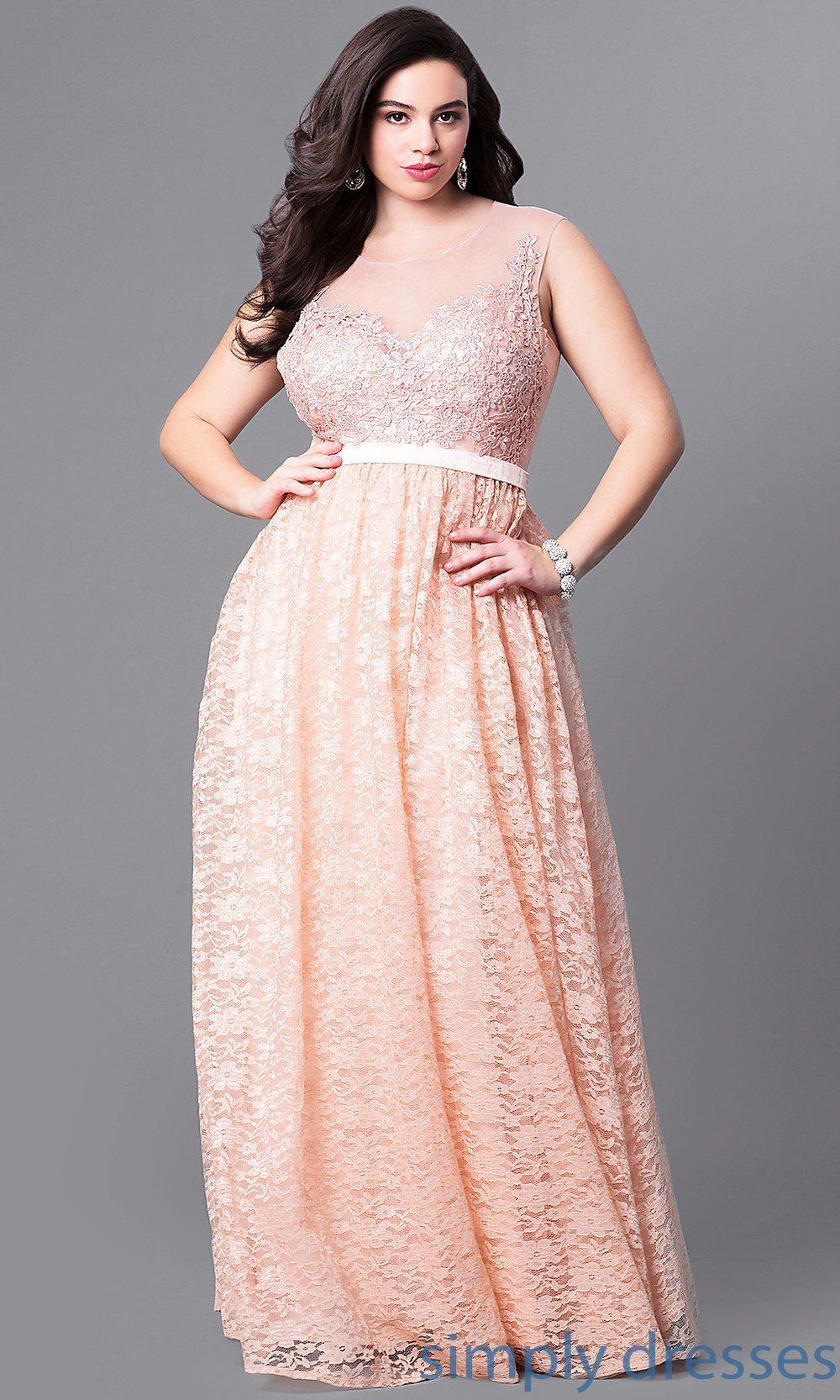 LP-24061P - Formal Long Plus-Size Prom Dress with Illusion Lace ...
