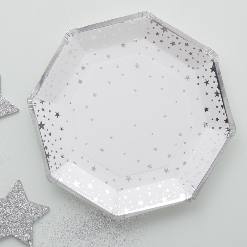 Silver Foiled Star Paper Plates Metallic Star Silver Decor Christmas Paper Plates Paper Plates Party