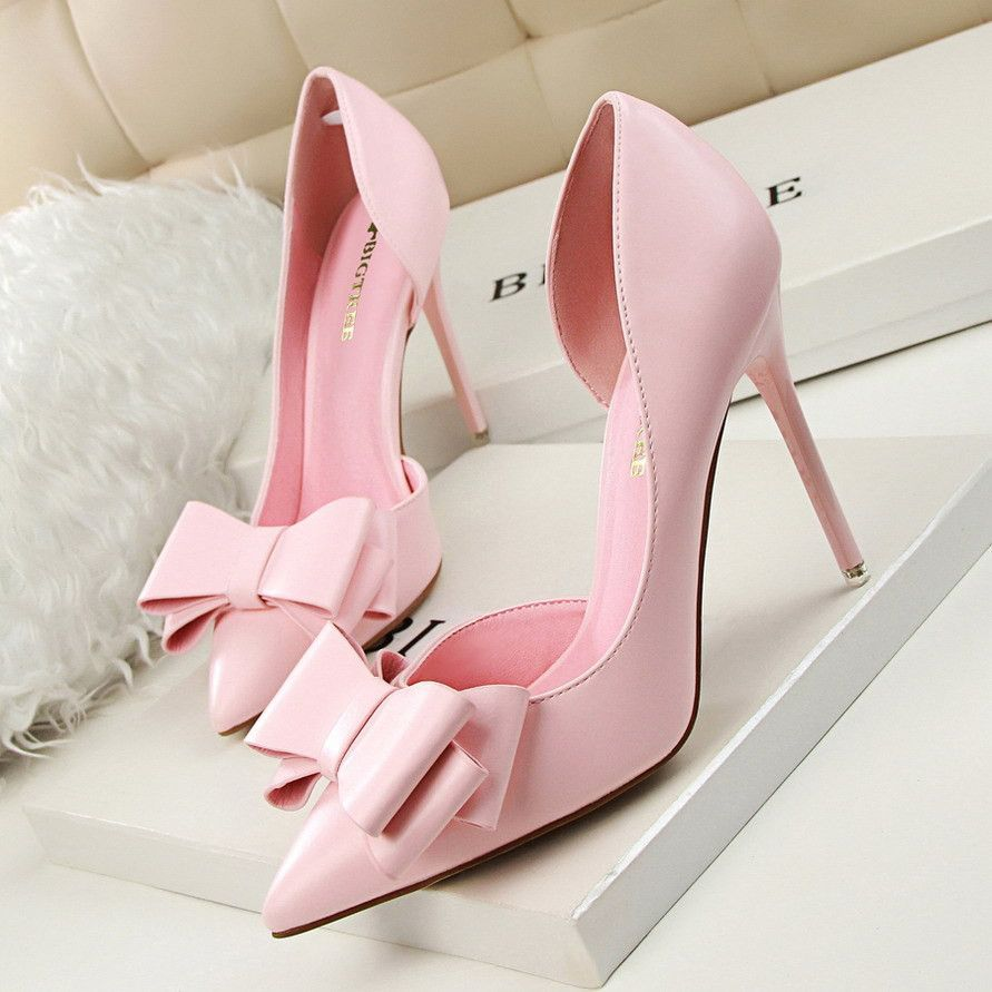 Women sweet bowknot highheeled shoes high heel pink high heels