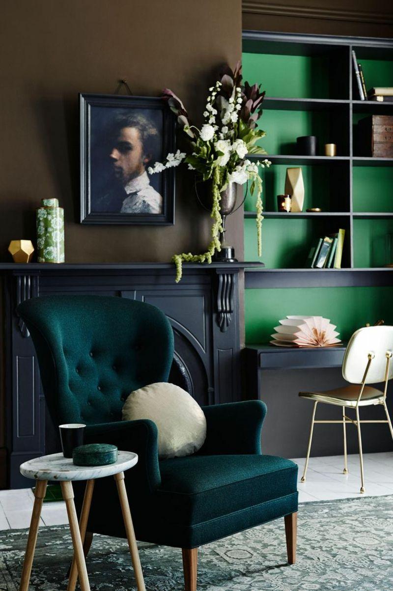 Einrichtungsideen Wohnzimmer Sessel Wandfarbe Grün | interieur ...