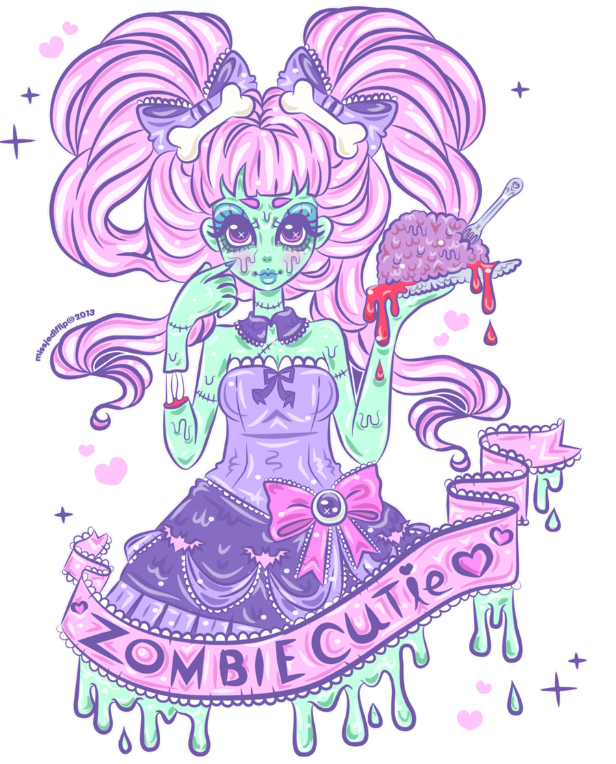 Zombie cutie by on deviantart for Pastel goth tattoos