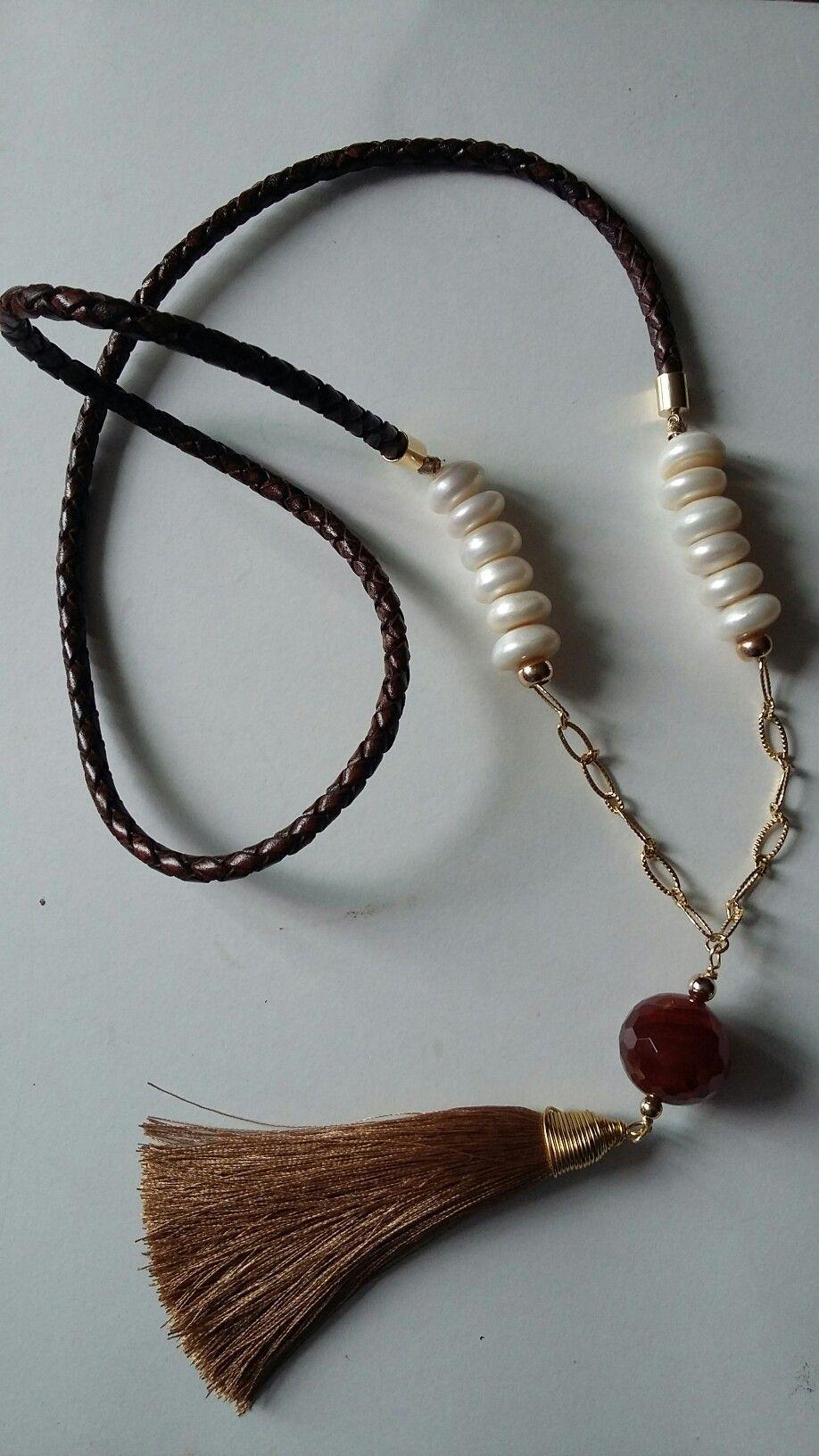 Perles /& Co Cord/ón de Cuero Trenzado 6 mm Marr/ón x 50 cm