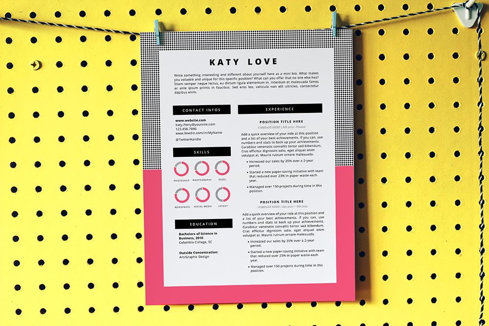 Resume Template  Cv Template Design  Cover Letter  Modern Pop