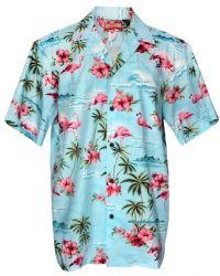 f36b641f Pink Flamingo - Mens Hawaiian Aloha Shirt - Blue | Men's Hawaiian ...