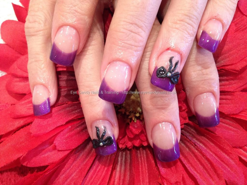 Purple Gel Tips With Acrylic Bow Nail Art