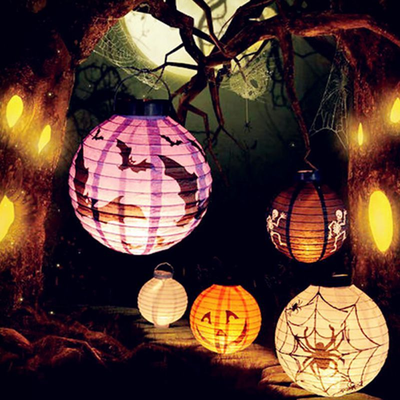 Halloween DIY Holiday Party Decor Scary LED Paper Pumpkin Hanging