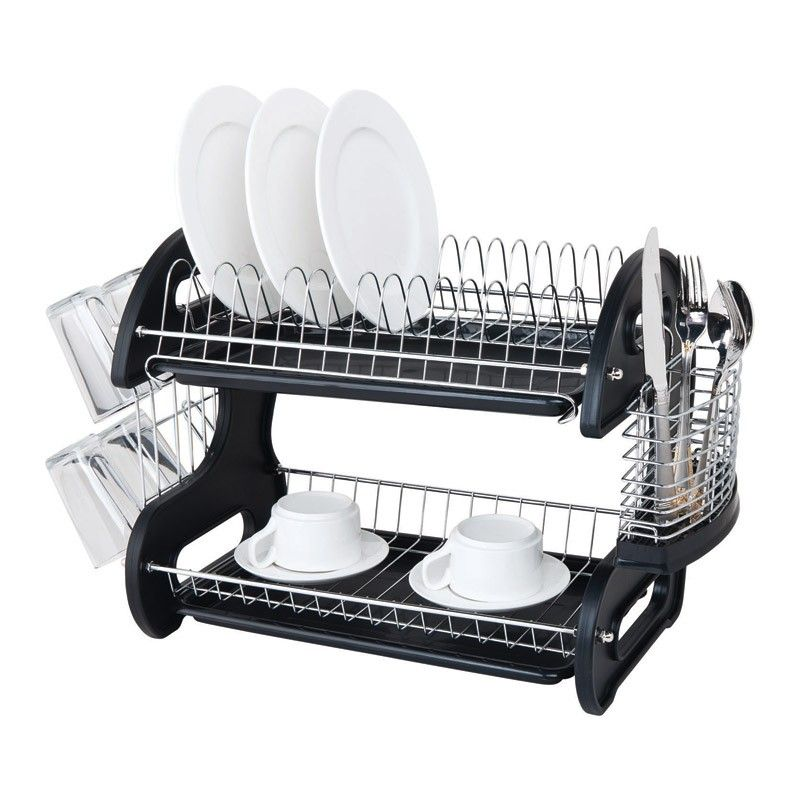 Home Basics 2 Tier Dish Rack Beauteous Home Basics 2 Tier Dish Drainer Black  Dish Drainers Single Girl Inspiration