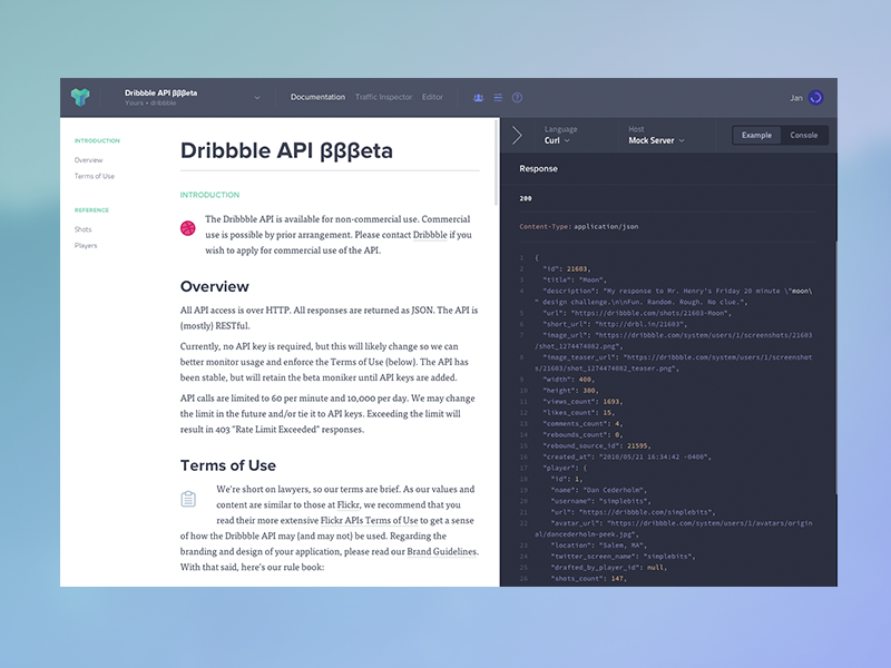Httpsdribbbleshots1661547 dribbble api in apiarylist hey guys so i have spent couple of days learning api blueprint i used dribbble api and put it to our apiary app maybe dunn would like to take a look malvernweather Choice Image