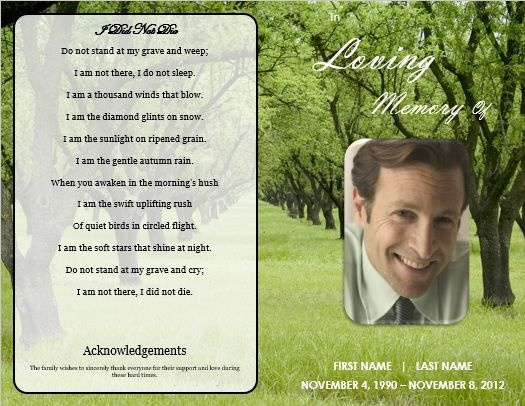 DIY Funeral Program Template \/ Nature Funeral Order of Service - funeral service templates word
