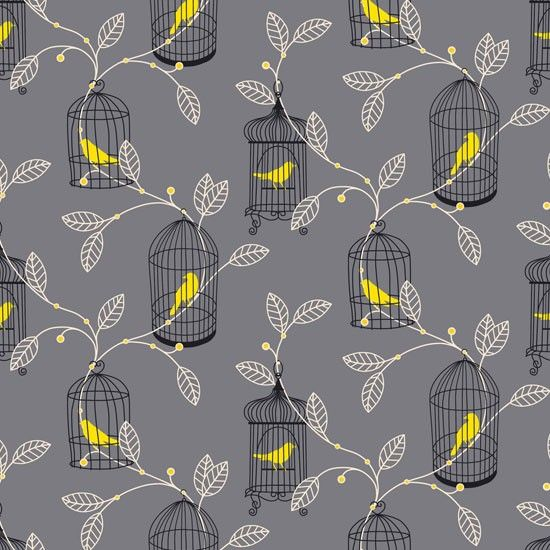 Aviary Grey Yellow Wallpaper Available From BQ