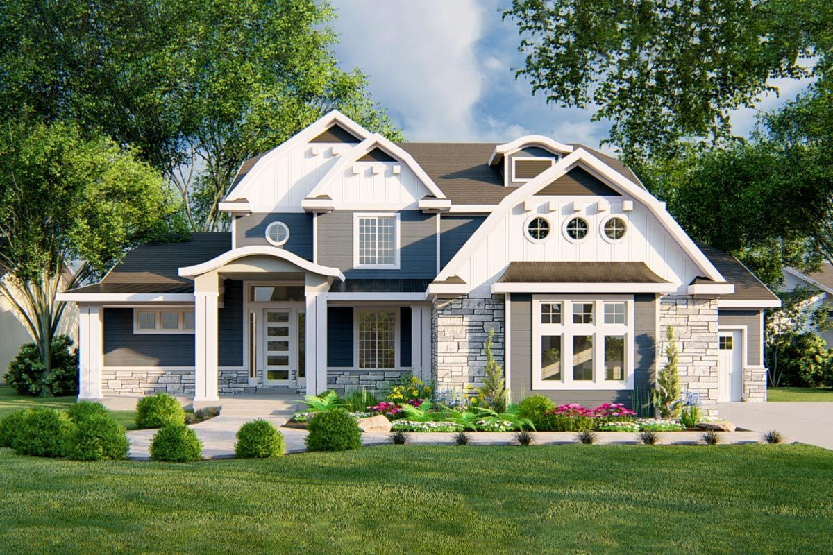 Plan 910000whd Gambrel Country House Plan With Optional Finished Lower Level Country House Plan Architectural Design House Plans Gambrel