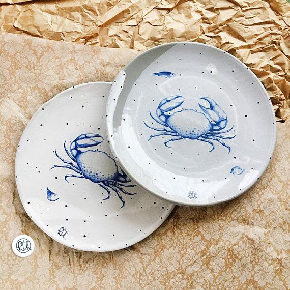 Set of 2 dinnerware plate with a crab in a marine style. Pottery is handmade. Ceramic plate modern pottery plate sea ceramic. & Set of 2 dinnerware plate with a crab in a marine style. Pottery is ...