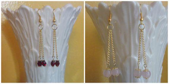 Double Bead Dangle Earrings on Gold tone metal ... by marcenebt99, $12.00