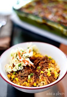 Take Del Monte's Cheddar Corn Casserole from a side dish to a weeknight main, add cooked pulled pork and then top it with a bit of coleslaw for serving.