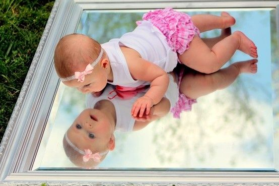 Baby on a mirror picture idea!