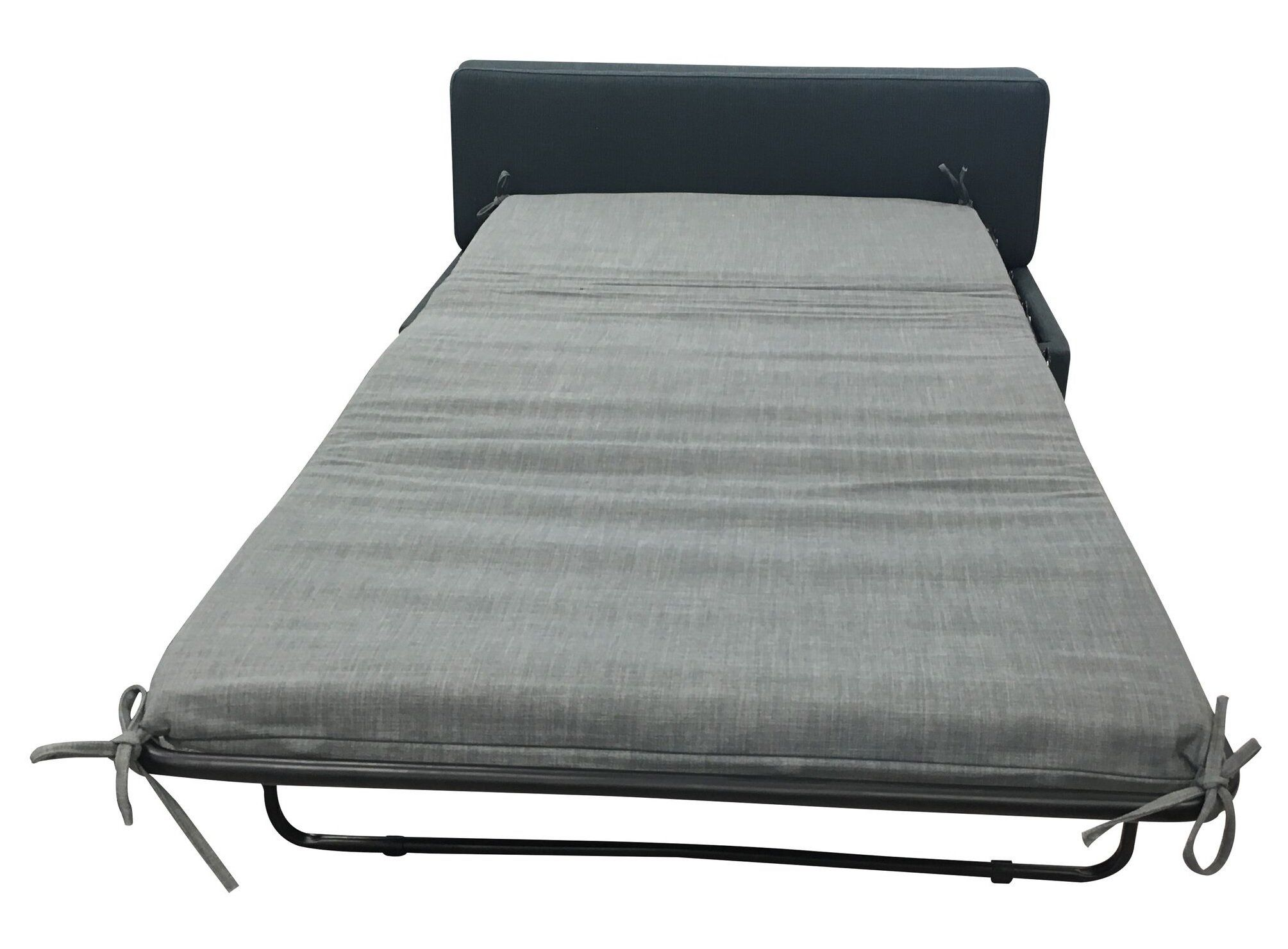 Iris ottoman with fold out single bed in sky charcoal