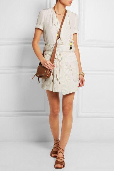 Isabel MarantBird quilted cotton wrap mini skirt