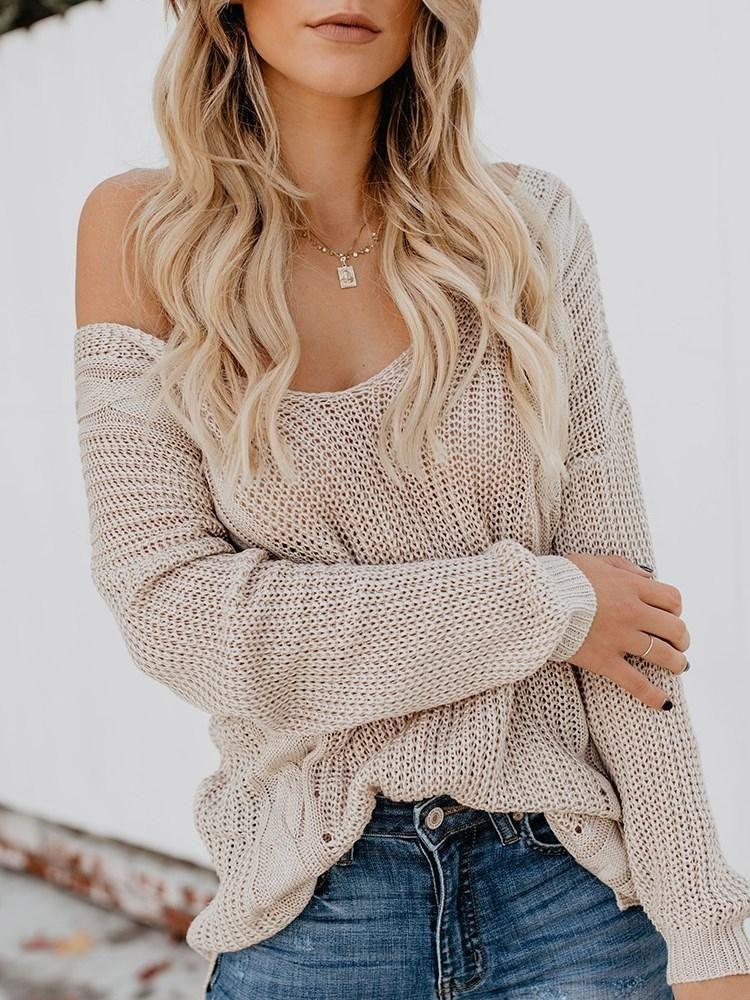 3f712b4b931ff Fashion Cross Straps Loose Off Shoulder Women s Sweater – hebedress.com