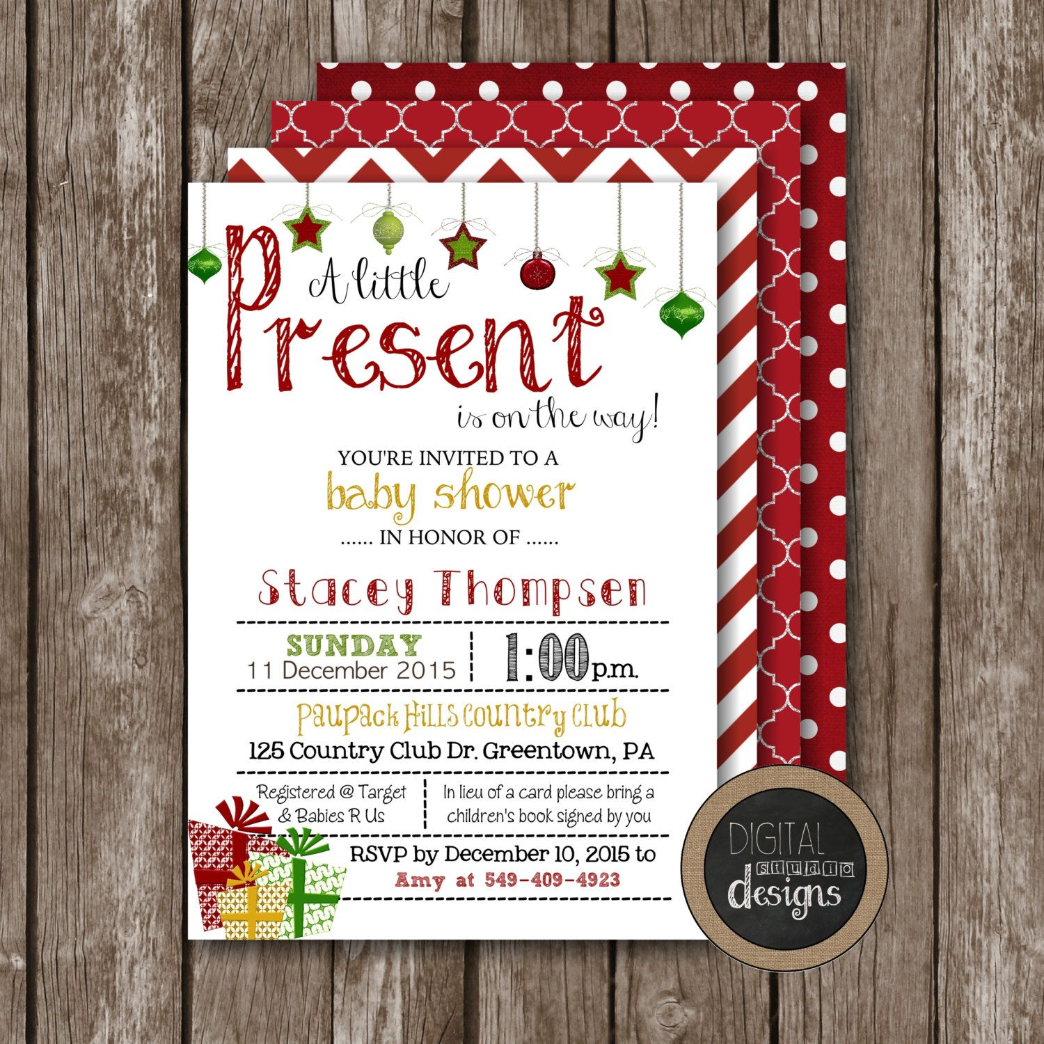 Christmas Baby Shower - A Little Present Baby Shower Invitations ...