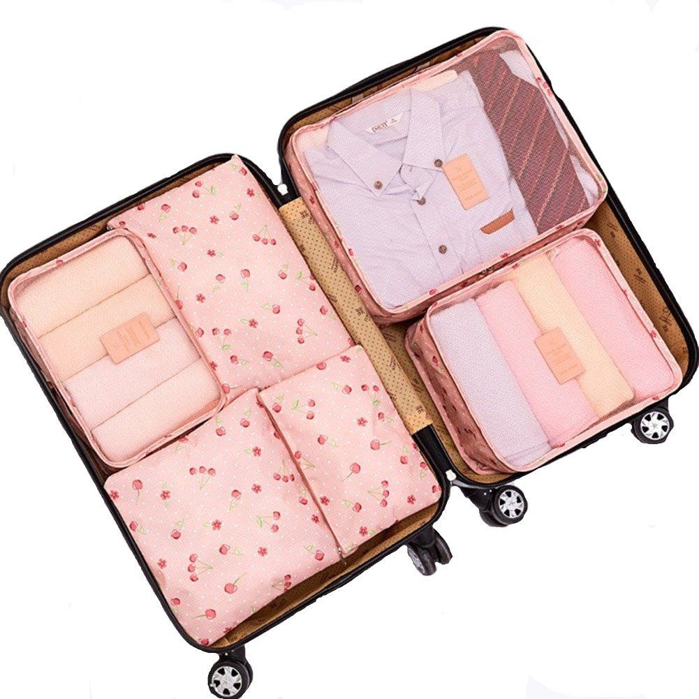 6Pcs Waterproof Travel Storage Bags Clothes Packing Cube Luggage Organizer  Pouch (Pink cherry) c682a2f9db8cf