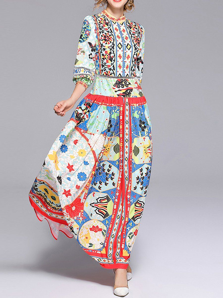 Multicolor swing sleeve cotton casual floral maxi dress