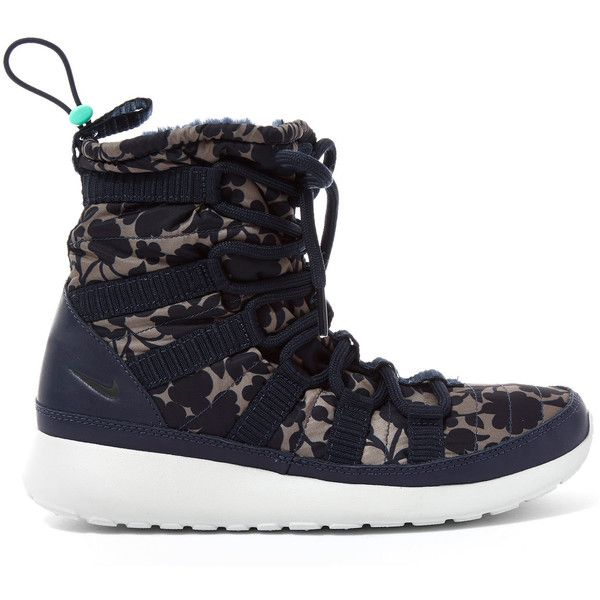 Nike x Liberty Obsidian Cameo Print Roshe One Hi-Top Trainers featuring  polyvore, women's