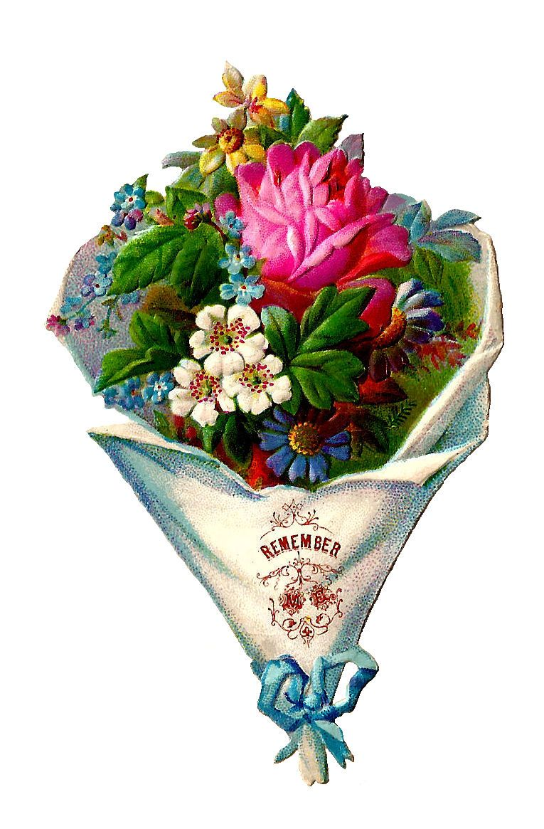 antique images free flower clip art victorian die cut of flower bouquet pink rose and blue ribbon [ 765 x 1165 Pixel ]