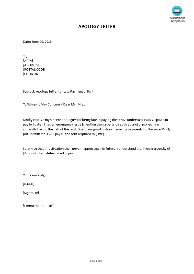 Do You Need A Friendly Apology Letter For Late Payment To Landlord Download This Well Crafted Apology Letter For Late Lettering Letter Templates Apology Note