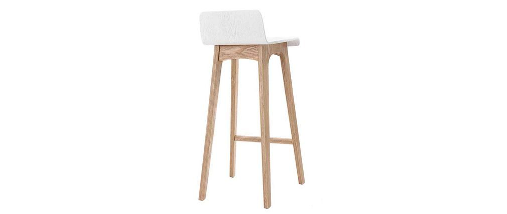 Sgabello sedia da bar design legno naturale scandinavo 75