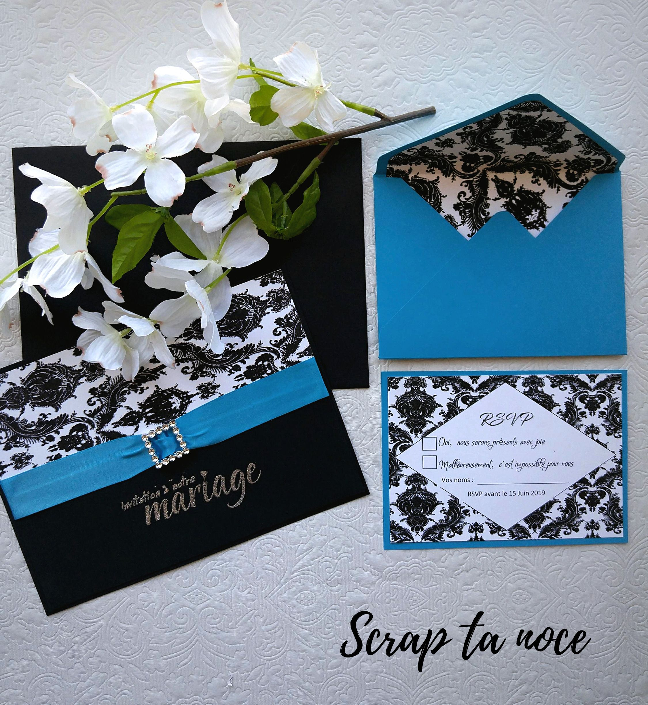 Damask And Turquoise Wedding Invitation Faire Part De Mariage Turquoise