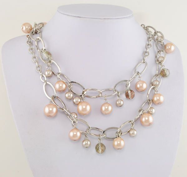 """36"""" Silver Ep Combination Link Necklace w/ Blush Pink Faux Pearls"""